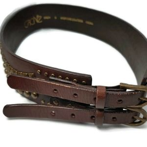 Cache' Double Strap & Buckle Studded Leather Belt